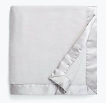 Grey Satin Trimmed Plush Blanket