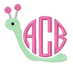 burp cloth - snail monogram