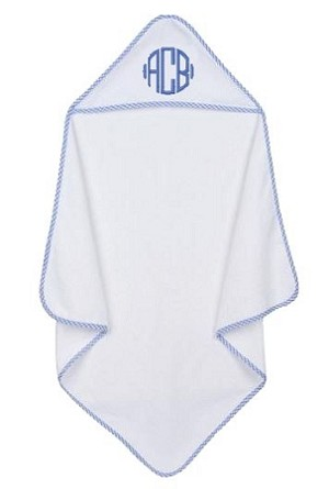 hooded towel - blue gingham