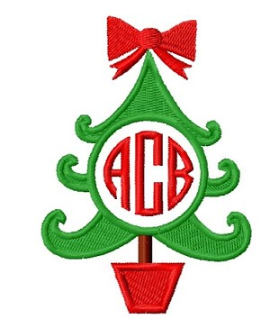 burp cloth - Christmas tree monogram