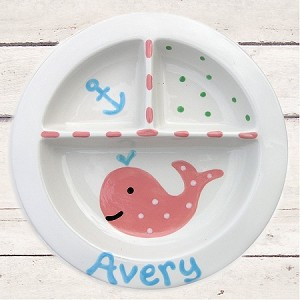 personalized ceramic plate - whale