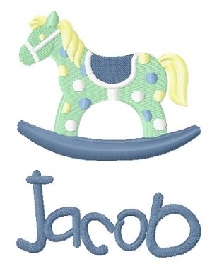 burp cloth - rocking horse