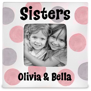 personalized ceramic picture frame - sisters